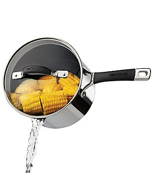 Circulon Momentum Stainless Steel 3 Qt. Covered Straining Saucepan, , rollover