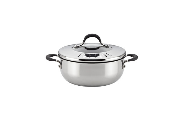 Circulon Momentum Stainless Steel 4 Qt. Covered Casserole w/locking straining lid, , large