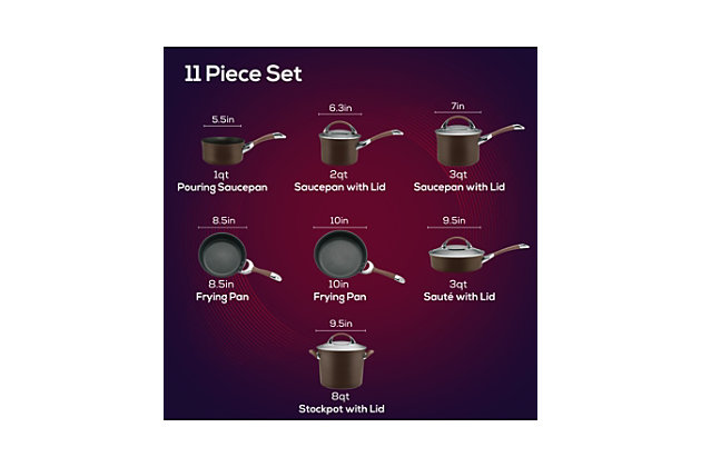 Circulon Symmetry Chocolate Hard Anodized Nonstick 11-Piece Cookware Set, Chocolate, large