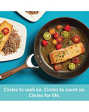 """Circulon Symmetry Chocolate Hard Anodized Nonstick Twin Pack: 10"""" & 12"""" Open Frying Pans, Chocolate, large"""