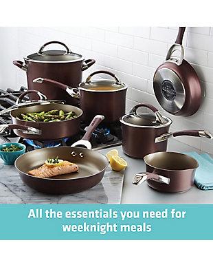 """Circulon Symmetry Merlot 11-Piece Cookware Set: 1 QT Pouring Saucepan, 2 QT & 3 QT Covered Sauncepans, 8 QT Covered Stockpot, 3 QT Covered Saute, 8.5"""" & 10"""" French Frying Pans, Merlot, large"""
