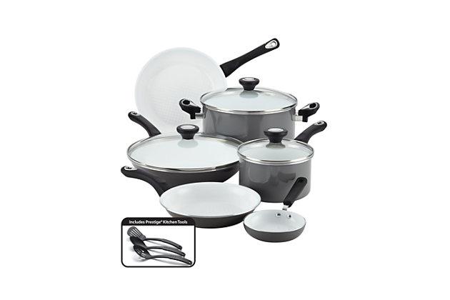 Farberware Aluminum Ceramic 12-Piece Cookware Set, Gray, Gray, large