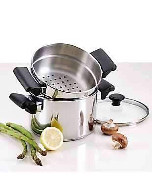 Farberware Classic Traditions Stainless Steel 3 Qt. Covered Sauce Pot w/Steamer Insert, , rollover