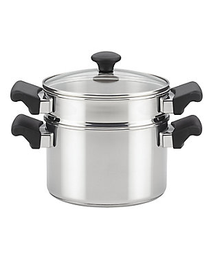 Farberware Classic Traditions Stainless Steel 3 Qt. Covered Sauce Pot w/Steamer Insert, , large