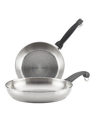 """Farberware Classic Traditions Stainless Steel Twin Pack: 9"""" & 11.5"""" Open Skillets w/Embossed Surface, , large"""