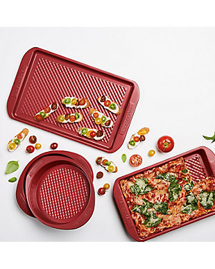 Farberware Colorvive 4-Piece Bakeware set, Red, Red, rollover