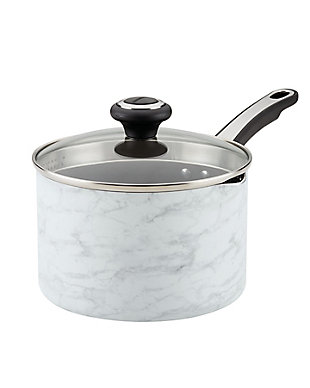 Farberware Designs, White Marble 2 Qt. Covered Straining Saucepan, , large