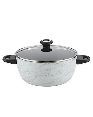 Farberware Designs, White Marble 5.5 Qt. Covered Casserole, , large