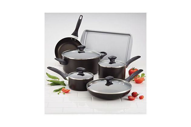 Farberware Dishwasher Safe Aluminum Nonstick 15-Piece Cookware Set, Black, Black, large