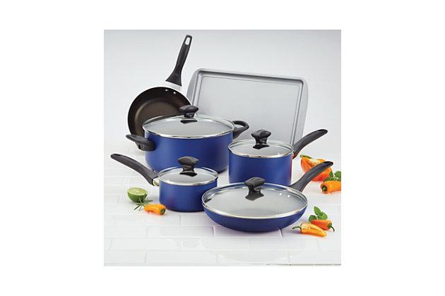 Farberware Dishwasher Safe Aluminum Nonstick 15-Piece Cookware Set, Blue, Blue, large