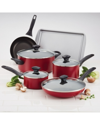 Farberware Dishwasher Safe Aluminum Nonstick 15-Piece Cookware Set, Red, Red, large