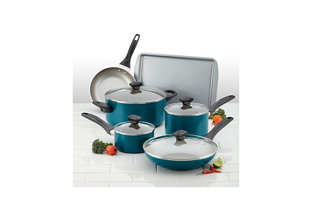Farberware Dishwasher Safe Aluminum Nonstick 15-Piece Cookware Set, Teal, Teal, large