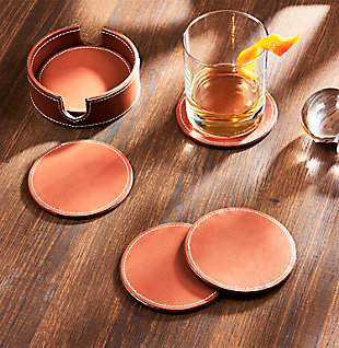 American Atelier Dark Brown Leather Coasters with Caddy Set of 6, Brown, rollover