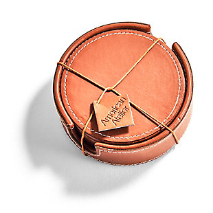 American Atelier Dark Brown Leather Coasters with Caddy Set of 6, Brown, large