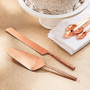 Elle 2-Piece Tube Copper Cake Serving Set, Copper, rollover