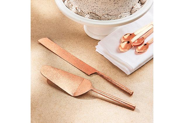Elle 2-Piece Tube Copper Cake Serving Set, Copper, large
