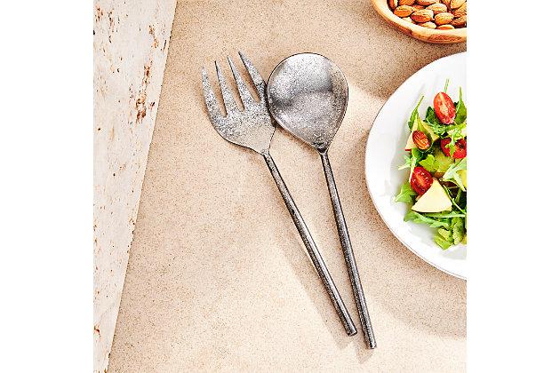 Elle 2-Piece Tube Silver Salad Serving Set, , large