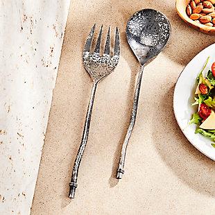 Elle 2-Piece Twig Silver Salad Serving Set, , rollover