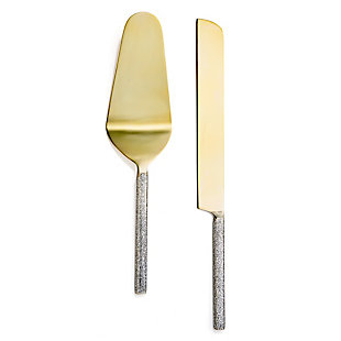 American Atelier 2-Piece Glitter Gold Cake Serving Set, Gold, large