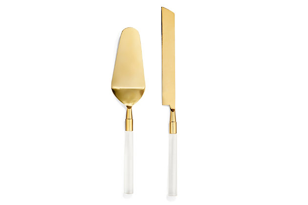 American Atelier 2-Piece Acrylic Gold Cake Serving Set, Gold, large