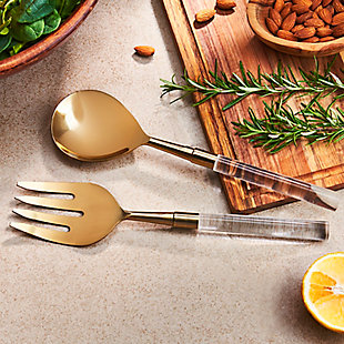American Atelier 2-Piece Acrylic Gold Salad Serving Set, Gold, large