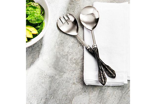 Elle 2-Piece Baroque Black / Silver Salad Serving Set, Black, large