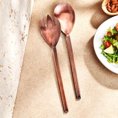 Elle 2-Piece Forge Antique Copper Salad Serving Set, Copper, large