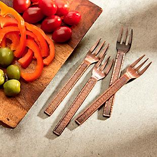 Elle 4-Piece Demitasse Copper Fork Set, Copper, rollover