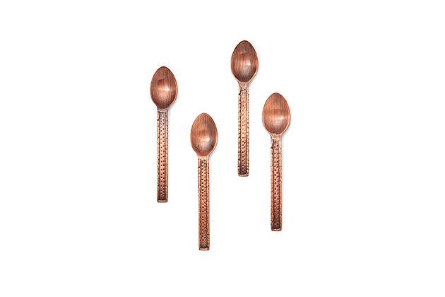 Elle 4-Piece Demitasse Copper Spoon Set, Copper, large