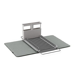 UMBRA Udry Over The Sink Dish Basket & Drying Mat, Black/Gray, large