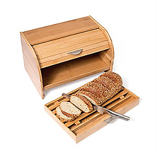 Lipper Lipper Bamboo Breadbox with Drawer, , rollover