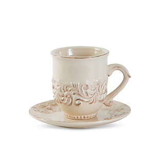 The Gerson Company Acanthus Leaf Embossed Cream Ceramic Cup and Saucer (Set of 4), , large