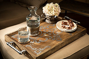 The Gerson Company Heritage Collection Wood and Metal Inlay Bed Tray, , rollover