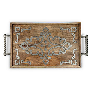 The Gerson Company Heritage Collection Wood and Metal Inlay Bed Tray, , large
