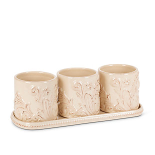 The Gerson Company Acanthus Stoneware 3-piece Herb/plant Holders With Tray, , large