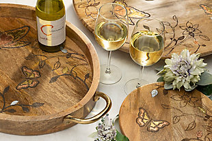 """The Gerson Company Mango Wood with Laser Butterfly Design 22"""" Lazy Susan, , rollover"""
