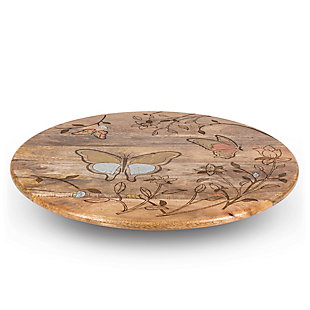 """The Gerson Company Mango Wood with Laser Butterfly Design 22"""" Lazy Susan, , large"""