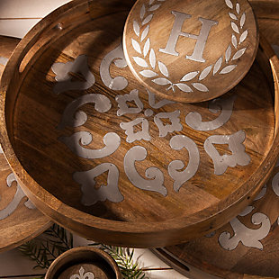 The Gerson Company 20-Inch Heritage Collection Wood and Metal Round Tray, , rollover