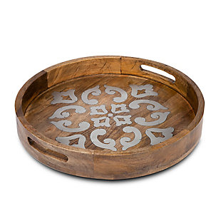 The Gerson Company 20-Inch Heritage Collection Wood and Metal Round Tray, , large