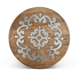The Gerson Company 18-Inch Diameter Metal-Inlaid Wood Heritage Lazy Susan, , rollover