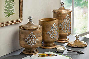 The Gerson Company Wood and Metal Inlay Large Heritage Collection Canister, , rollover