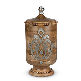 The Gerson Company Wood and Metal Inlay Large Heritage Collection Canister, , large