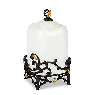 The Gerson Company 13-Inch Tall Gold Leaf Ceramic Canister with White Stoneware and Espresso Brown Vines and Gold Leaf Accented Base, , large