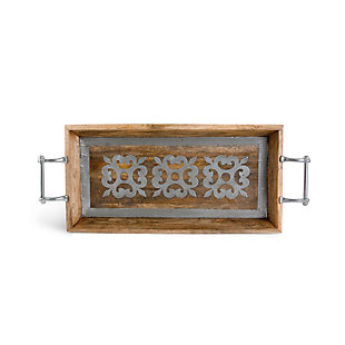 The Gerson Company 30-Inch Metal-Inlaid Heritage Collection  Wood Tray, , rollover