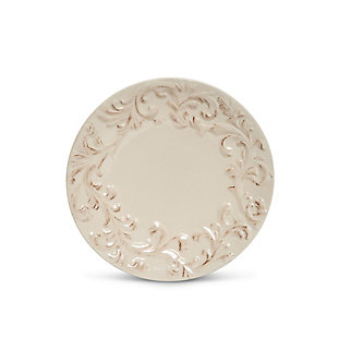 The Gerson Company Cream Ceramic Dinner Plates Embossed With Acanthus Leaf Pattern (set Of 4), , large