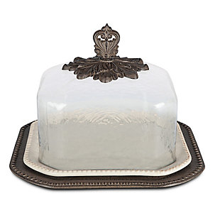 The Gerson Company 17-Inch Cream Ceramic Pastry Keeper with Glass Dome and Acanthus Leaf Metal Base, , large