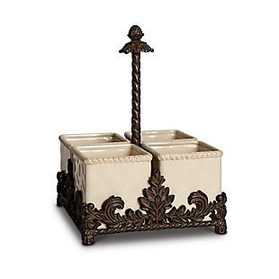 The Gerson Company Cream Ceramic Flatware Caddy with Acanthus Leaf Metal Holder, , rollover