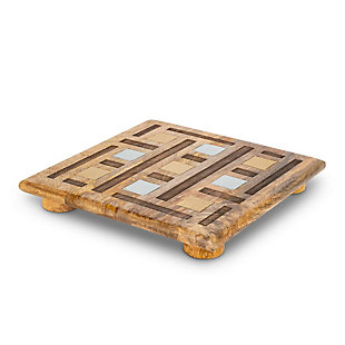 The Gerson Company Mango Wood with Laser and Metal Inlay Weave Design Square Trivet, , rollover