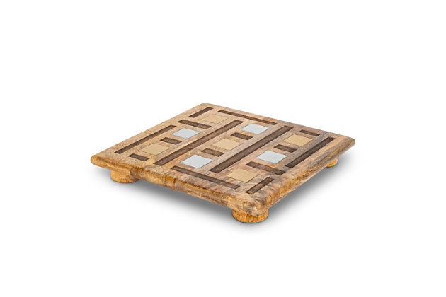 The Gerson Company Mango Wood with Laser and Metal Inlay Weave Design Square Trivet, , large