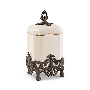 The Gerson Company 14-Inch Tall Provencial Cream Canister with Brown Metal Scrolled Base, , large